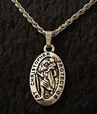 "Saint Christopher Necklace Pendant Silver St. of Travel Protection 18"" Patron UK"