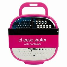 Pink Kitchen Cheese Grater with Container and Grip Handle 4 Colours Available