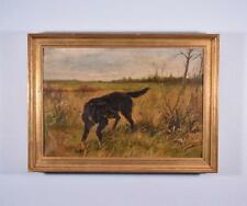 *Antique Oil on Canvas Painting of a Retriever/Hunting Dog by E. Matthyssens
