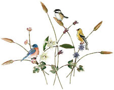 Songbirds in Flower Meadow Metal Wall Art Sculpture by Bovano of Cheshire #W4425