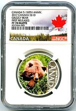 2017 $10 CANADA 150TH SILVER PROOF NGC PF70 MATTE GRIZZLY BEAR FIRST RELEASES