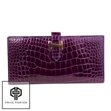 HERMES BEARN WALLET CASSIS PURPLE SHINY CROCODILE ALLIGATOR GOLD GHW CLUTCH
