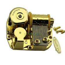"Sankyo Gold Windup DIY Music Box Movement Key Screws Play Song ""La Vie En Rose"""