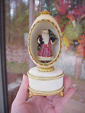 REAL Decorated Goose Egg Music/Jewelry Box Santa Christmas Gift Decoration