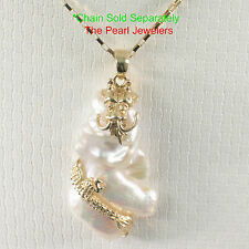 14k Solid Yellow Gold Dragon Cloud Design, White Baroque Biwa Pearl Pendant TPJ