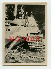 WWII ORIGINAL GERMAN WAR PHOTO BOYS ON KNOCKED TANK / PANZER AFTER THE BATTLE