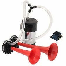 12V TWIN DUAL TONE AIR HORNS COMPRESSOR + PIPE + RELAY CAR VAN LORRY
