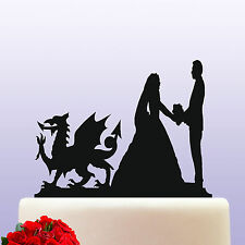 Acrylic Welsh Dragon Theme Bride & Groom Wedding Cake Topper Decoration