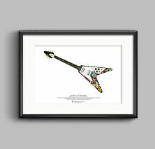 Jimi Hendrix's 1967 Gibson Flying V guitar ART POSTER A3 size
