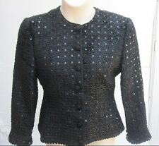 $1865 Fall Winter GIORGIO ARMANI Italy Black Sequins Evening Blazer Jacket 42 8