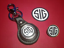 SIG  FIREARMS /  GUNS:  LEATHER KEY RING, BADGE &  FREE  SIG  STICKER