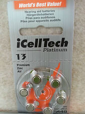 60x New Hearing Aids Batteries Platinum iCellTech Korea Battery Size 13