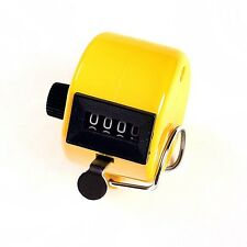 Chrome Hand held 4 Digit display Number Tally Counter Clicker Golf Yellow