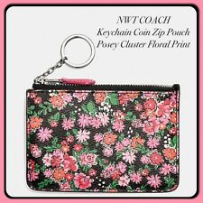 Coach Coin Key Chain Pouch Gusset Wallet Coin Purse Posey Cluster Floral Print