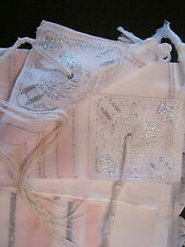"Kosher Tallit Talis Prayer Shawl acrylic 24""X73"" Made in Israel -Pink/Silver"