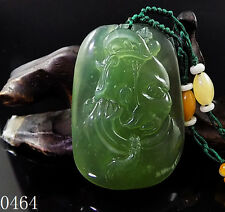 100% Natural Hand-carved Icy Jade Pendant jadeite Necklace monkey king 0464