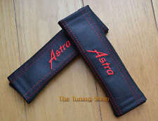 2x SEAT BELT COVERS PADS LEATHER EMBROIDERY ASTRA red thread for Vauxhall Opel
