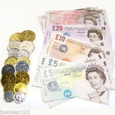 Childrens Play Money Fake Notes and Coins Plastic Paper Party Filler Pounds Cash