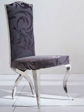Luxury High Back Grey Floral Fabric Chrome Shabby Chic Trixy Dining Chair Heavy