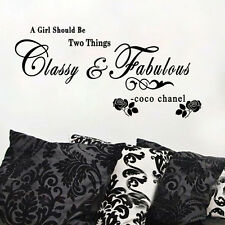 A Girl Should Be Classy&Fabulous Wall Sticker Famous Quote Rose Mural Art Decal