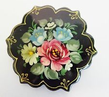 Vintage Hand Painted Russian Black Lacquered Brooch Pin