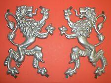 Pair O' Scottish Fighting Lions Plaque, Shield, Crest, Aluminum Casting