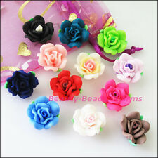 5Pcs Mixed Handmade Polymer Fimo Clay Flower Spacer Beads Charms 20mm