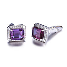 JewelryPalace Vintage Alexandrite Sapphire Cufflinks 925 Sterling Silver For Men