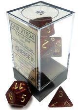 Chessex Dice: Glitter Poly Ruby/Gold (7) CHX 27504