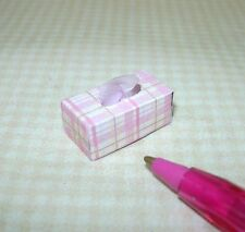 Miniature Rectangular Cute Pink Plaid Tissue Box: DOLLHOUSE 1/12 Scale