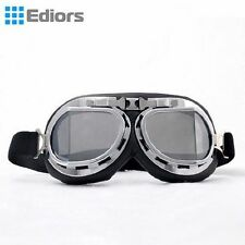 Aviator Pilot Cruiser Riding Motorcycle Scooter ATV Goggles Eyewear Silver Lens