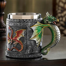 Medieval Royal Dragon Sparkle Decorative Cup Stainless Steel Mug Serpent Handle