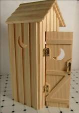 Dollhouse Furniture Miniature Out House Unpainted Wood Outhouse