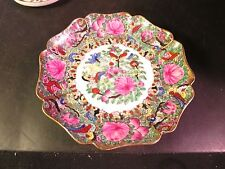 "Lovely Scalloped  6"" Oriental Plate Made in Hong Kong Pink Flowers"