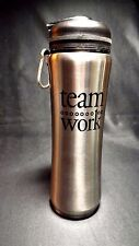 STAINLESS STEEL INSULATED DRINK BOTTLE WITH SIP TOP & TEAM WORK MOTIVATION PRINT