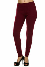 Solid Burgundy Leggings TC Always 92% Polyester 8% Spandex Brushed Plus Sz #48