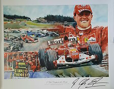 MICHAEL SCHUMACHER Signed 32x25 Ltd Ed Print FORMULA 1 World Champion PROOF COA