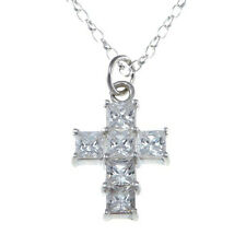 "Sterling Silver CZ Diamante Cross Pendant Necklace with 18"" Chain & Gift Box"