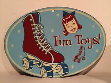 Old Vintage Painted Metal Sign FUN TOYS Roller Skate Girls Face 16 X 11 Inches!