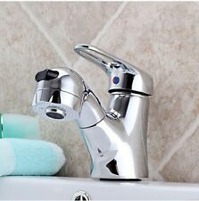 Two Way Chrome Finish Pull Out Stream Spray Basin Faucet For Shampoo Mixer Tap