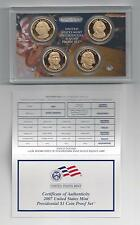 2007 US MINT PRESIDENTIAL $1 COIN PROOF SET W/COA