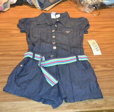 Guess Jeans Girls' Romper-Dark Denim & Striped Belt-14-NWT