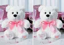 TWO (2) FLOWER GIRL Teddy Bears Plush Gift Wedding Party Present White Pink