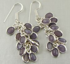 AMETHYST QUARTZ & 925 Sterling Silver Hook Drop Dangle Earrings 58mm - 87s