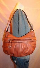 TIGNANELLO Small Orange Leather Shoulder Slouch Tote Satchel Purse Bag