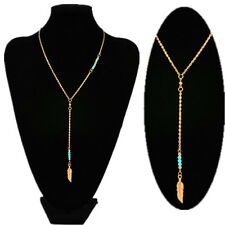 Women Retro Elegant Crystal Leave Pendant Gold Plated Tassel Chain Long Necklace