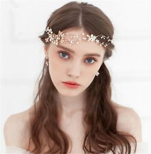 Wedding Bridal Crystal Gold Hair Accessories Headband Crown Tiara Headpiece Band