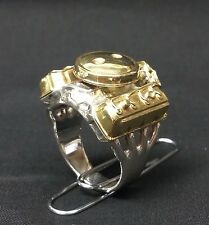 HEMI Ring. Sterling Silver, Dual Quad, Brass Valve Covers and Breather Size 12.5