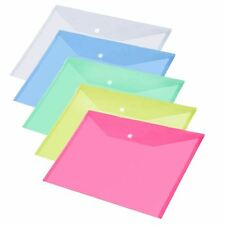 10x ASSORTED PLASTIC STUD DOCUMENT WALLETS FOLDERS POPPERS A4 PAPER STORAGE FILE