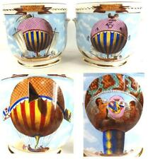 PAIR VINTAGE FRENCH J SIQUIER HAND PAINTED PORCELAIN CACHE POTS HOT AIR BALLOON